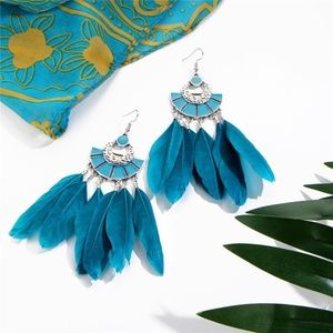 Boho Fan Shaped Teal Color Feather Earrings